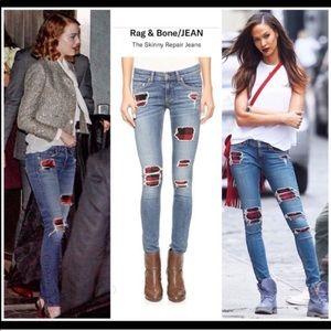Rag & Bone Sloane Plaid Patch repair jeans 25